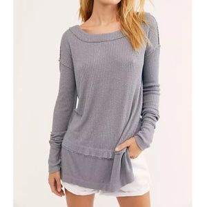 Free People Storm Grey North Shore Thermal Top